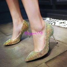 Womens Pointy Toe Dating Banquet Sequins Club Metal Heels Stilettos Shoes Party
