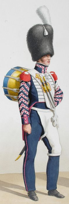 1824. Royal Guard. Infantry. (5th Regiment) Fusiliers drum, Musician. Detail