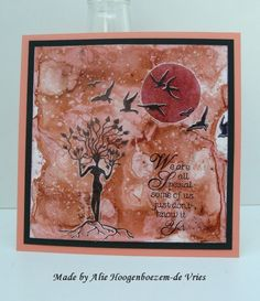 Bister card with stamps, made by Alie Hoogenboezem-de Vries