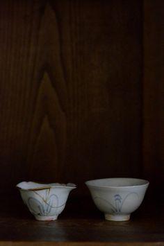 Old Imari ware (right) and Yamamoto Ryohei (left)