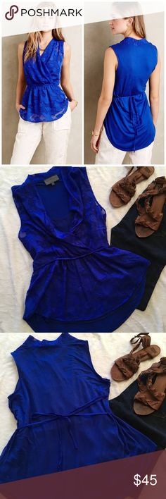 Sunday in Brooklyn Edria tie back blouse Beautiful royal blue tie back sleeveless top from Sunday in Brooklyn. Pull over styling with jersey back and attached tank. Fabric is flowy and flattering, with enough length to wear with leggings. Drawstring tie back means you can adjust to your liking! Excellent condition, no flaws. Size Large. Anthropologie Tops Blouses