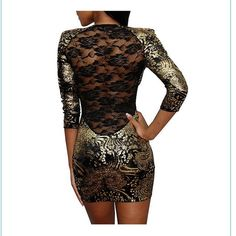 Gorgeous Gold and Black Dress with Sheer Lace Back Black dress with allover gold design.  Back is completely lace.  It originally had shoulder pads but I cut those out because the dress is already such a statement piece!  Worn once. Great Glam Dresses Long Sleeve