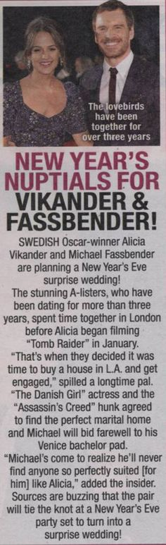 Michael Fassbender and Alicia Vikander are going to buy a house in LA and have a New Year's Day wedding