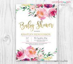 Flores bebé ducha invitación Burdeos y rosa acuarela flores