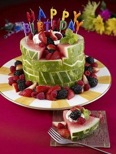 Birthday cake made of fruit Thats pretty awesome But I think Ill