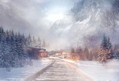 """Winter Wanderlust""  Digital Landscape #Mountains #train #tracks# snow #scene #winter #magical"