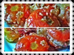 Οι λιχουδιές της Μαριφάνης: Ντομάτες γεμιστές στην κατσαρόλα Baked Potato, Potatoes, Meat, Chicken, Baking, Ethnic Recipes, Greek, Food, Potato