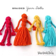Learn how to make classic braided yarn dolls. This is a simple, traditional craft which is fun to make and the finished yarn dolls make cute DIY toys Yarn Crafts For Kids, Crafts For Girls, Cute Crafts, Diy For Kids, Crafts To Make, Arts And Crafts, Diy Crafts, Love Knitting, Yarn Projects
