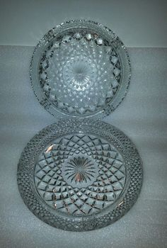 Vintage Large Clear Diamond Pattern Glass Wexford Cigar Ashtrays
