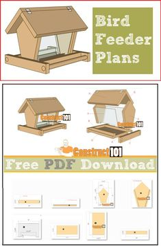 Bird feeder plans, free PDF download, cutting list, and shopping list.