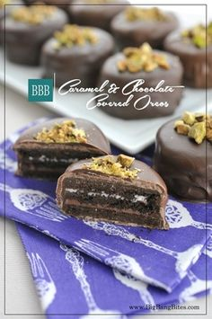 Caramel & Chocolate Covered Oreos | Big Bang Bites | bigbangbites.com | Double Triple Oreos dipped in caramel and covered with chocolate and crushed pistachios.