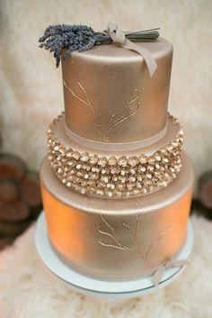 beautiful gold wedding cake; photo: LH Photography