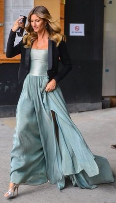 Teal Off Shoulder Gown Dress