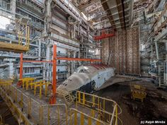 A remote rusting warehouse in the Kazakhstan desert that once housed the Soviet space shuttle program