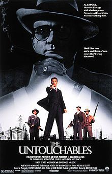 The Untouchables is a 1987 American crime film directed by Brian De Palma and written by David Mamet. Based on the book The Untouchables, the film stars Kevin Costner as government agent Eliot Ness. It also stars Robert De Niro as gang leader Al Capone and Sean Connery as Irish-American officer Jimmy Malone. The film follows Ness' autobiographical account of the efforts of him and his Untouchables to bring Capone to justice during Prohibition. The Untouchables was released on June 3, 1987.