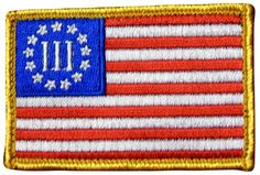 """[Single Count] Custom, Cool & Awesome {3"""" x 2"""" Inches} Rectangle Patriotic National American Flag Three Percenter (Tactical Type) Velcro Patch """"Red, White, Blue & Gold"""""""