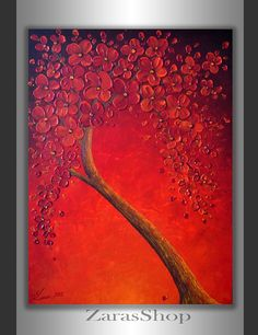 Original Contemporary Fine Art Abstract Tree Textured by ZarasShop, $225.00