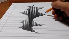Drawing Techniques Art Ed Central loves: Trick Art on Line Paper - Drawing Hole - Illusion Kunst, Illusion Drawings, Drawings On Lined Paper, 3d Drawings, 3d Art Drawing, Hole Drawing, Easy 3d Drawing, Learn Drawing, Drawing Tips