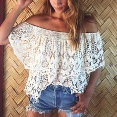 White Strapless Lace Beach Blouse
