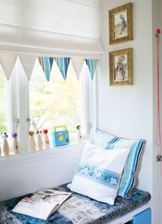 DO IT YOURSELF: a creative nursery thanks to this great guest post by stylist Pamela Pomplitz - { Wimpelketten } - Vorhang Kids Room Art, Kids Bedroom, Kids Rooms, Bedroom Ideas, Triangle Window, Curtains Childrens Room, Reading Nook Kids, Futon Bunk Bed, Built In Bed