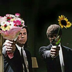 Say it with flowers John Travolta and Samule L Jackson in Pulp Fiction. Happy B Day, Happy Mothers Day, Happy Birthday Meme, Birthday Wishes, Birthday Memes, Birthday Greetings, Birthday Cards, Cat Birthday, Movies And Series