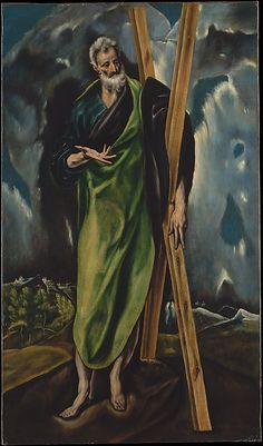"Workshop of El Greco (Spanish, ca. 1610). Saint Andrew, ca. 1610. The Metropolitan Museum of Art, New York. Bequest of Stephen C. Clark, 1960 (61.101.8) | This work is featured in ""El Greco in New York,"" on view through February 1, 2015. #mustache #movember"