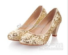 Wholesale Dress Shoes - Buy Lady's Princess Medium Heels Fashion Dress Shoes For Wedding And Party Golden/Silver Sequin Shoes, $41.04 | DHgate