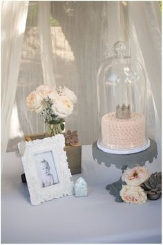 Love the hanging tulle idea around baby for cake and gifts