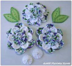 Flores de Fuxico de Feltro, Folhas de Feltro e Fuxicos Tradicionais Perfeitos de Feltro