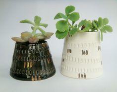 Modern White Ceramic planter, White and Gold Housewares