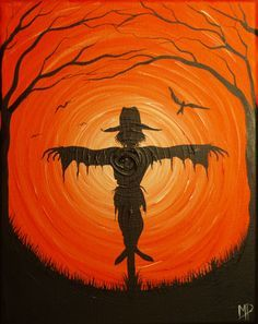 The Scarecrow- 10 x 8 , acrylic on canvas, ready to hang, ORIGINAL by Michael H…