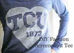 Screen print your own T-shirt using freezer paper and fabric paint.