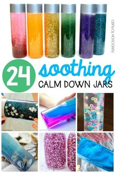 24 Soothing Calm Down Jars! A fantastic sensory activity for kids to calm and soothe at home or in the classroom!