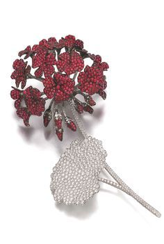 RUBY AND DIAMOND CLIP-BROOCH, MICHELE DELLA VALLE Designed as a cluster of geraniums set with circular-cut rubies, the leaf and stem highlighted with brilliant-cut diamonds, signed Michele della Valle, numbered. High Jewelry, Jewelry Art, Antique Jewelry, Gemstone Jewelry, Vintage Jewelry, Jewelry Accessories, Jewelry Design, Lotus Jewelry, Antique Brooches