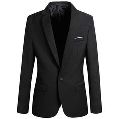 Mens Slim Fit Casual One Button Blazer Jacket at Amazon Men's Clothing... ($16) ❤ liked on Polyvore featuring men's fashion, men's clothing, mens clothing, slim fit mens clothing and men's apparel