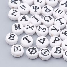 100 Silver plated Round flat Acrylic Alphabet Single Letter Beads A-Z 7x4mm