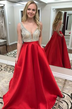Red Prom Dress with Pockets, Back To School Dresses, Prom Dresses For Teens, Pageant Dress, Graduation Party Dresses Prom Dresses With Pockets, Open Back Prom Dresses, Prom Dresses For Teens, V Neck Prom Dresses, Pageant Dresses, Dress Prom, Party Dresses, School Dresses, Dress Long