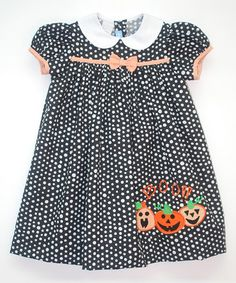 Another great find on #zulily! Black Polka Dot 'Boo' Cap-Sleeve Dress - Infant & Toddler by Monday's Child #zulilyfinds
