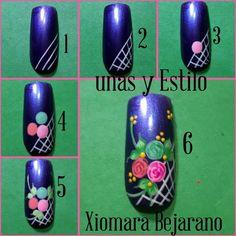 Flower Nail Designs, Diy Nail Designs, Flower Nail Art, Valentine Nail Art, Nail Art Videos, Beautiful Nail Art, Nail Tutorials, Diy Nails, Beauty Nails