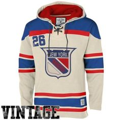 Men's New York Rangers Old Time Hockey Stone Home Lace Heavyweight Hoodie