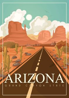 Illustration of Arizona vector poster with american theme. Unites States of America card. USA travel banner vector art, clipart and stock vectors. Poster Art, Poster Prints, Art Deco Posters, National Park Posters, Photo Vintage, Vintage Pink, Arizona Travel, Visit Arizona, Travel Illustration