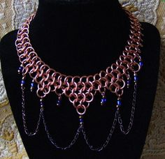 Game of Thrones Chainmail Necklace Copper Blue Glass Beads Steampunk Cosplay | eBay