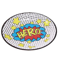 """9"""" COMIC SUPERHERO PAPER PLATES - Cool Comic Superhero themed paper plates, perfect for either a children's party or birthday celebration. Use these fun paper plates to add a splash of color to your party table! The plates feature comic themed """"Hero"""" wording. Boutique style partyware by Ginger Ray. Each pack includes 8 plates.  Size approx. 9 inches."""