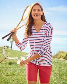 Seize the day & enjoy the sun! | Talbots Summer Outfits Wide Leg Linen Pants, Plain Tops, Summer Styles, Striped Linen, Summer Collection, Talbots, Spring Summer Fashion, Summer Outfits