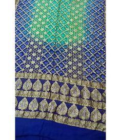 Blue Banarasi Bandhani Pure Georgette Saree