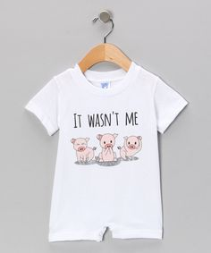 Take a look at this White 'It Wasn't Me' Romper - Infant on zulily today!