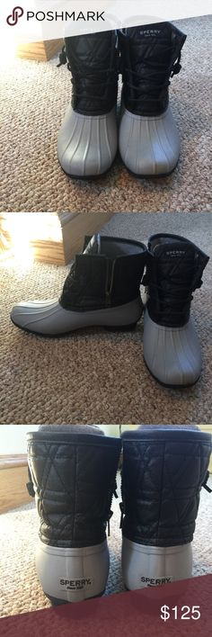 Sperry duck boots Worn once almost brand new. Excellent condition. Gray and black. Size 8.5 Sperry Shoes Winter & Rain Boots
