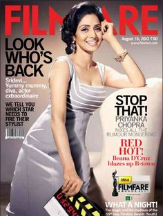 Sridevi on The Cover of Filmfare Magazine India August 2012.   Bollywood Cleavage