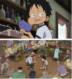 One Piece anime_ Reaction when Luffy first ate the gomu-gomu devils fruit.