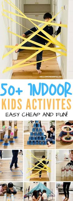 Fun Easy Indoor Activities for Kids : 50 Plus Easy Activities for Kids. Cheap and easy to set up indoor activities using common household items and/or recycled materials Keep them busy creating and playing while stuck at home. Rainy Day Activities For Kids, Indoor Activities For Kids, Summer Activities, Learning Activities, Preschool Activities, Games For Kids, Kids Fun, Indoor Games, Indoor Activities For Children